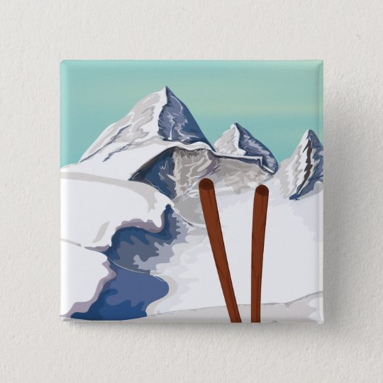 Skiing Mountains Pinback Button