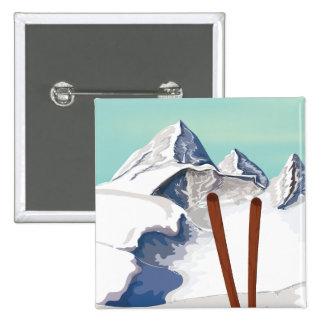 Skiing Mountains Pinback Button