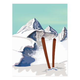 Skiing Mountains Postcard