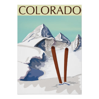 Skiing Mountains Poster