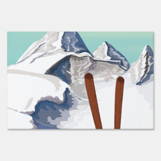 Skiing Mountains Sign
