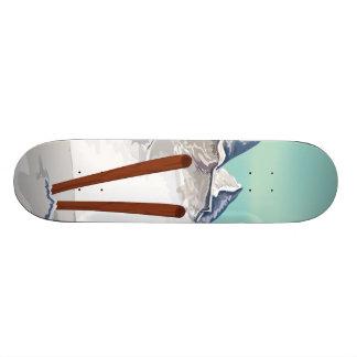 Skiing Mountains Skateboard