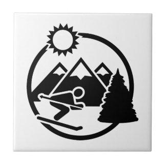 Skiing mountains sun tile