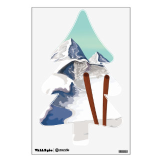 Skiing Mountains Wall Decal