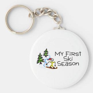 Skiing My First Ski Season Basic Round Button Keychain