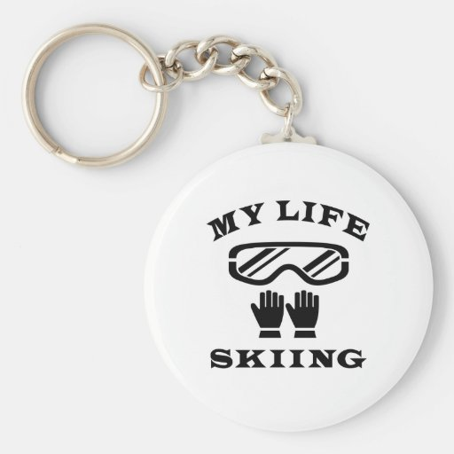 Skiing My Life Basic Round Button Keychain