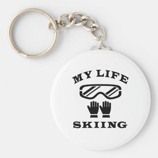 Skiing My Life Basic Round Button Keychain
