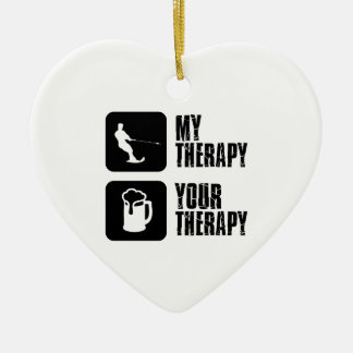 skiing my therapy designs ceramic ornament