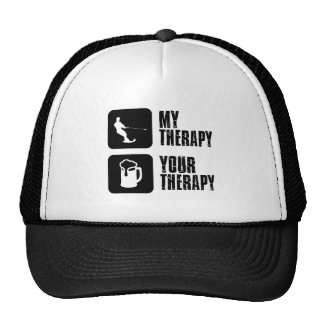 skiing my therapy designs trucker hat