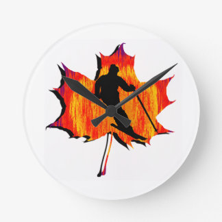SKIING OH YES ROUND WALL CLOCKS