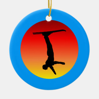 skiing Double-Sided ceramic round christmas ornament