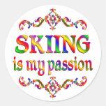 Skiing Passion Round Sticker