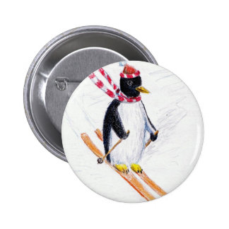 Skiing Penguin 2 Inch Round Button