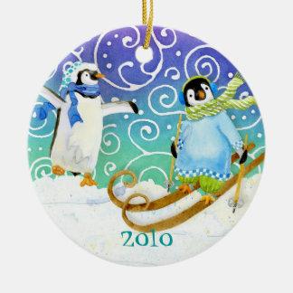 Skiing Penguin Family Custom Christmas Ornament
