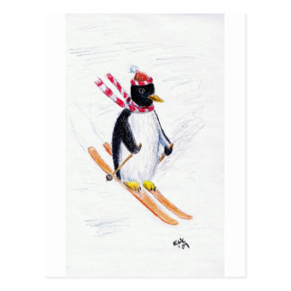 Skiing Penguin Postcard