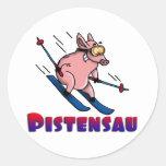 skiing pig aufkleber