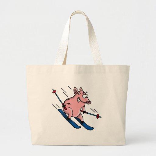 skiing pig jumbo tote bag