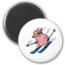 skiing pig magnet