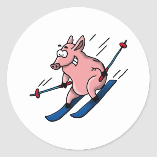 skiing pig round stickers