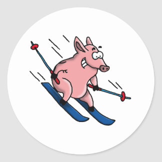 skiing pig stickers