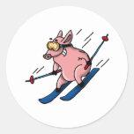 skiing pig sticker