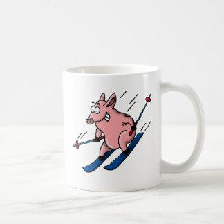 skiing pig tazas de café