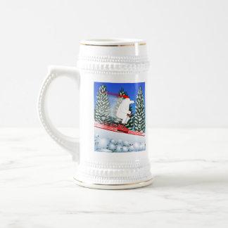 Skiing Polar Bear 18 Oz Beer Stein