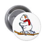 Skiing Polar Bear 2 Inch Round Button
