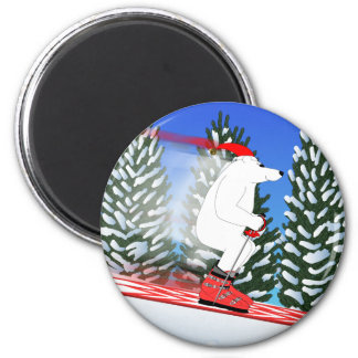 Skiing Polar Bear 2 Inch Round Magnet