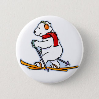 Skiing Polar Bear Button