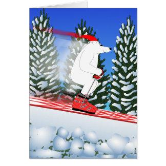 Skiing Polar Bear Greeting Card
