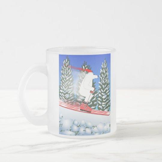 Skiing Polar Bear Frosted Glass Coffee Mug