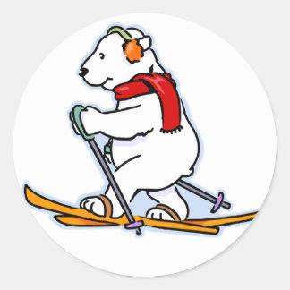Skiing Polar Bear Sticker