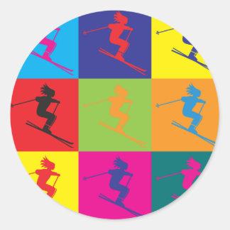 Skiing Pop Art Classic Round Sticker