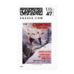 Skiing Promotional Poster Postage Stamp