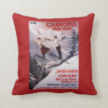 Skiing Promotional Poster Throw Pillow