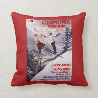 Skiing Promotional Poster Throw Pillow
