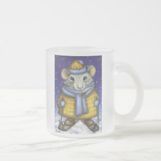Skiing Rat Frosted Glass Coffee Mug