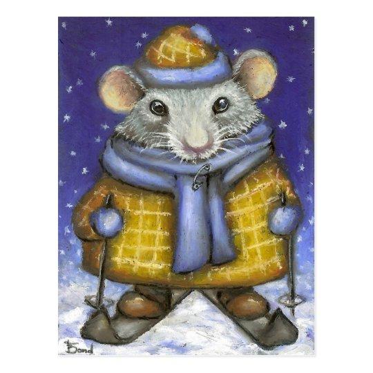 Skiing Rat Postcard