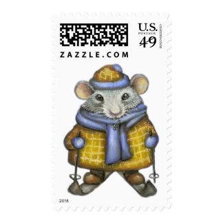 Skiing Raven Stamp