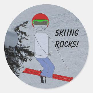 Skiing Rocks Classic Round Sticker