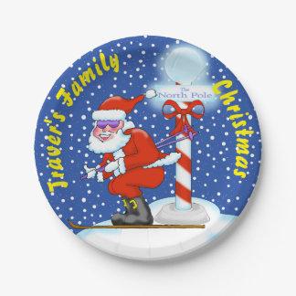 Skiing Santa at the North Pole Paper Plates