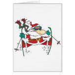 skiing santa claus cartoon greeting cards
