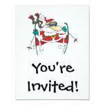 skiing santa claus cartoon personalized invitations