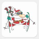 skiing santa claus cartoon stickers