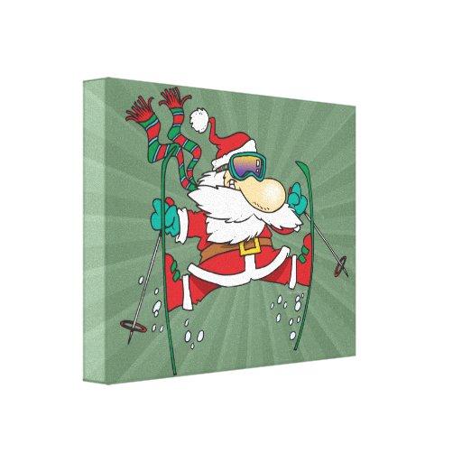 skiing santa claus cartoon stretched canvas print