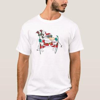 skiing santa claus cartoon T-Shirt