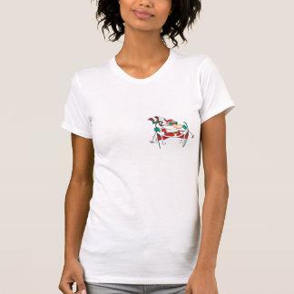 skiing santa claus cartoon tee shirt
