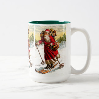 Skiing Santa Claus Two-Tone Coffee Mug