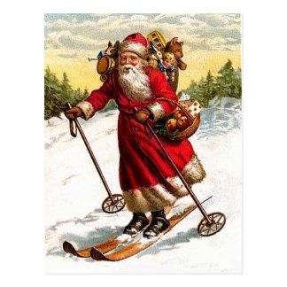 Skiing Santa Claus Postcard